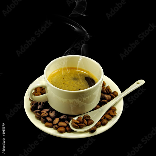 image of a cup of coffee on a black background