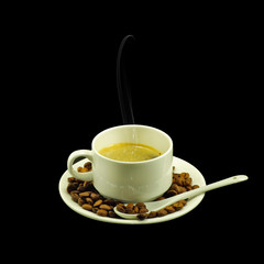isolated image of a cup of coffee on a black background