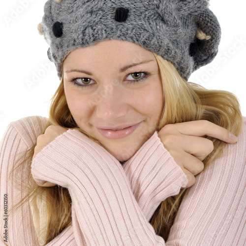 canvas print picture Frau in Winterkleidung