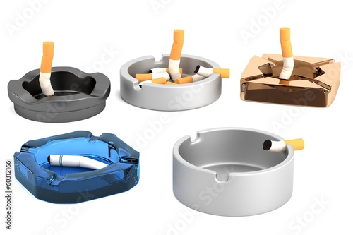 realistic 3d render of ashtrays