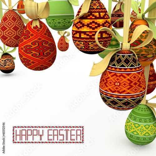 background with easter folk pattern color eggs on ribbon