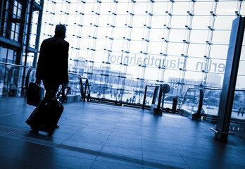 Passenger at a train station