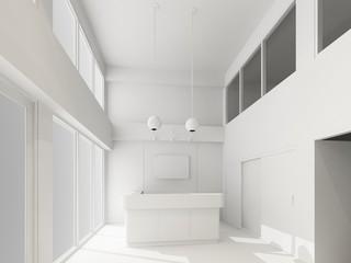 reception interior ,3d render