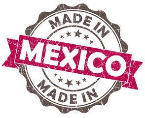 made in mexico pink grunge retro seal on white background