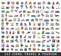 165 colors icons. Travel and Tourism