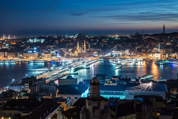 night Istanbul Galata bridge Bosphorus