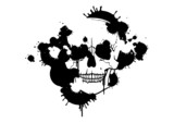 Ink blots creating a skull silhouette