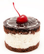 Chocolate cake with cherry on the top icing isolated on a white