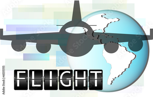 Illustration of airplane with world globe.