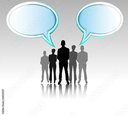 Illustration of business group with text balloons