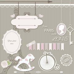 Vintage scrapbook design elements collection.