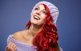 beautiful red hair woman in warm clothing