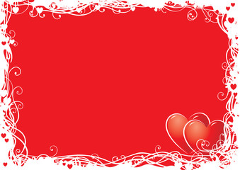 Vector  background  with ornate border and two hearts