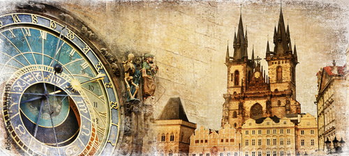 Old Prague - artistic vintage card