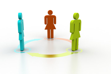 3d people standing in arrow circle