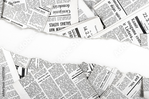 old ripped newspapers - 60317349
