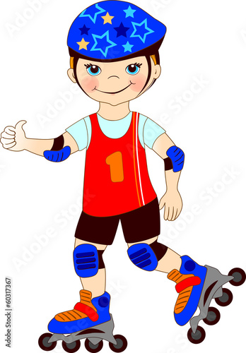 The boy skates on roller-skaters.Vector illustration.