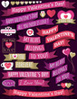 set of ribbon valentine's design, vector