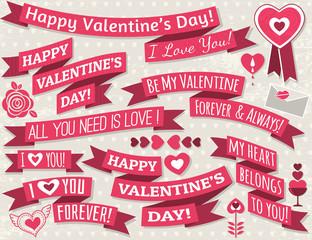 set of ribbon valentine's design, vector