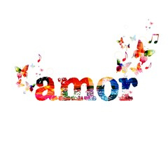 "Colorful vector ""amor"" background with butterflies"