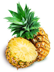 Fresh pineapple an a half isolated on white