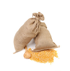 Two sacks with corn grains.