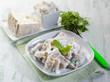 pasta with gorgonzola and arugula, selective focus