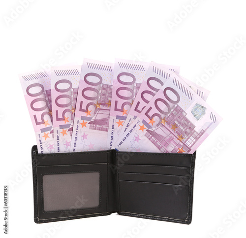 Wallet with five hundreds euro banknotes. nd.
