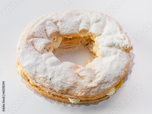 traditional roulade of kings, filled with cream and cream