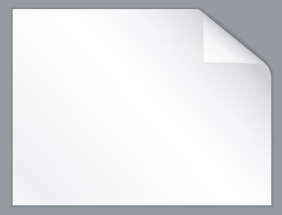 White horizontal paper sheet with folded corner.