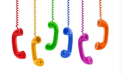 bunte Telefonhörer-Reihe