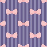 Seamless vector pink bows on blue violet strip background