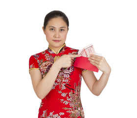 Beautiful asian woman with chinese traditional dress,  red packe