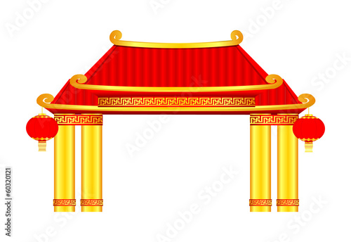 Gold Chinese Arch Vector