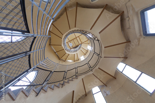 Long circular stairs inside the building