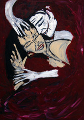 Mime and woman sleeping, oil painting