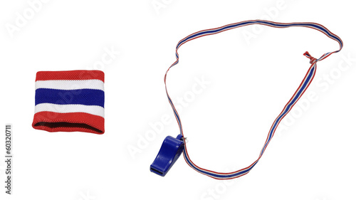 Thai flag wristband and blue whistle