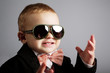 little stylish gentleman with sunglasses