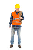 Construction worker wearing reflective clothing and holding rope