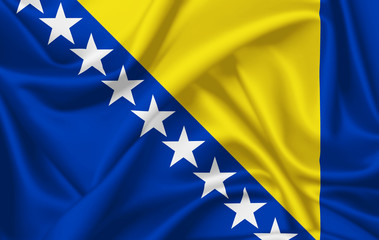 Flag of Bosnia and Herzegovina waving with silky look