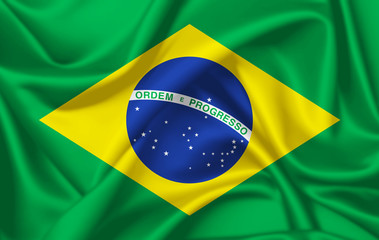 Flag of Brazil waving with silky look