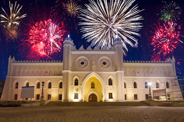 Firework display over the castle in Lublin, Poland