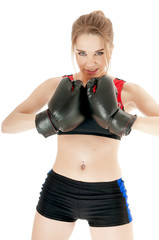 Boxer girl wearing boxing gloves against white background.Health