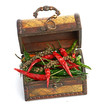 antique wooden chest and spices