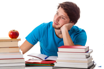 Thoughtful student during the studying