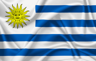Flag of Uruguay waving with silky look