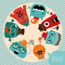 Hipster Rétro Monstres Design de carte