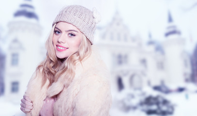Beautiful stylish woman in winter fashion