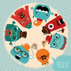 Hipster Retro Monsters Card Design © advayta