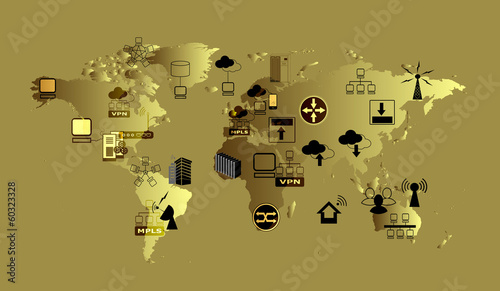 World Map and network icons